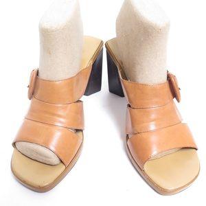 Enzo angiolini caramel leather slide Sandals 8M